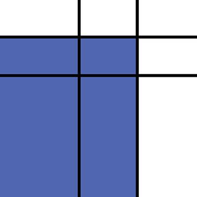 Mondrian Style Minimalist Pattern In Blue Poster