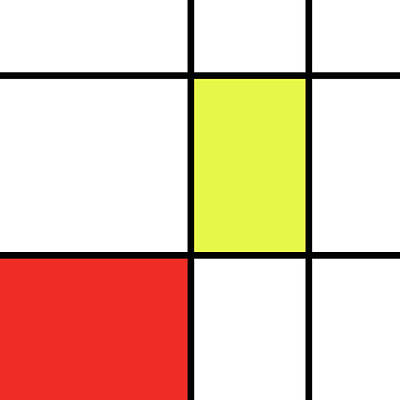 Mondrian Style Minimalist Pattern In Red And Yellow Poster