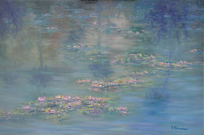 Monet Style Water Lily Peaceful Tropical Garden Painting Print Poster