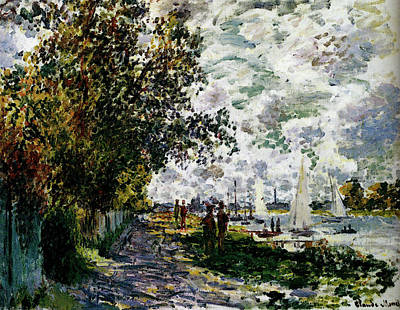 Monet The Riverbank At Gennevilliers Poster by Claude Monet