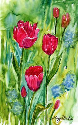Monet's Tulips Poster by Mary Benke