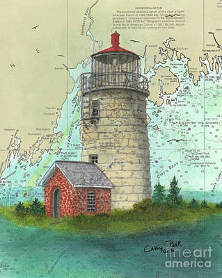 Monhegan Island Lighthouse Nautical Chart Map Maine Poster