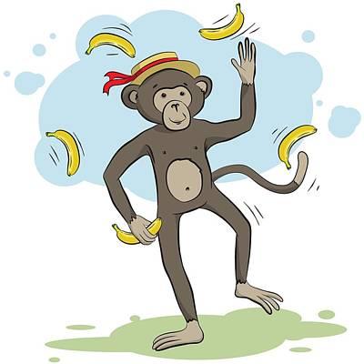 Monkey Juggling Bananas Poster
