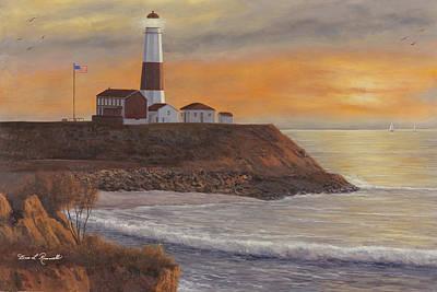 Monntauk Lighthouse Sunset Poster