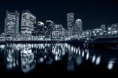 Monochrome Blue Seaport Bridge Boston Skyline Reflection Boston Ma Poster