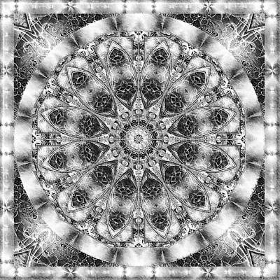 Poster featuring the digital art Monochrome Kaleidoscope by Charmaine Zoe