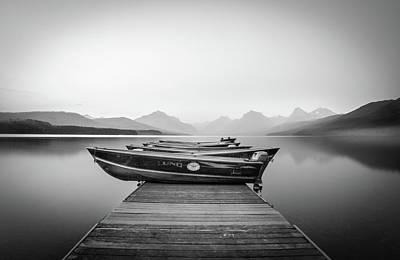 Poster featuring the photograph Monochrome // Lake Mcdonald, Glacier National Park by Nicholas Parker