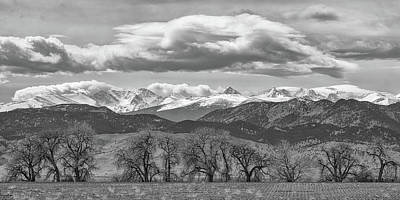 Poster featuring the photograph Monochrome Rocky Mountain Front Range Panorama Range Panorama by James BO Insogna