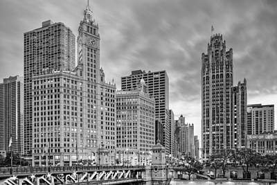 Monochrome Wrigley And Chicago Tribune Buildings - Michigan Avenue Dusable Bridge Chicago Illinois Poster by Silvio Ligutti