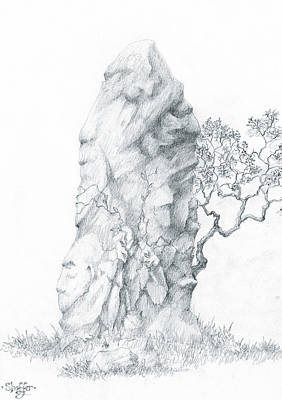 Poster featuring the drawing Monolith 2 by Curtiss Shaffer