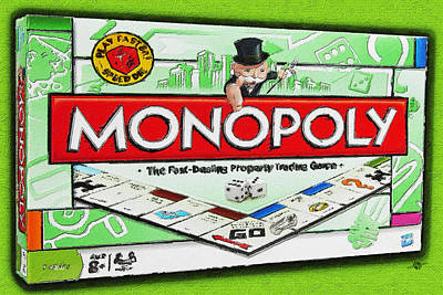 Monopoly Board Game Painting Poster by Tony Rubino