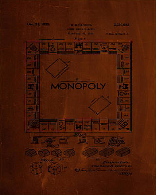 Monopoly Board Game Patent Drawing 1b Poster