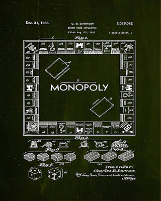 Monopoly Board Game Patent Drawing  Poster