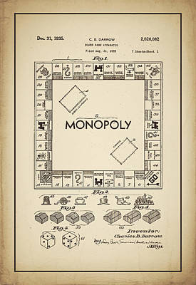 Monopoly Patent 1935 Vintage Border Poster by Terry DeLuco