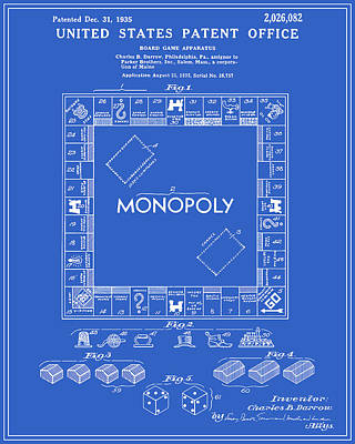 Monopoly Patent - Blueprint Poster by Finlay McNevin