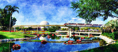 Poster featuring the digital art Monorail Red - Coming 'round The Bend by Sandy MacGowan