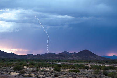 Monsoon Sunset Strike Poster by Cathy Franklin