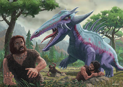 Poster featuring the painting Monster Attacking Cavemen by Martin Davey