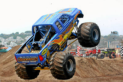 Monster Trucks - Big Things Go Boom Poster by Christine Till
