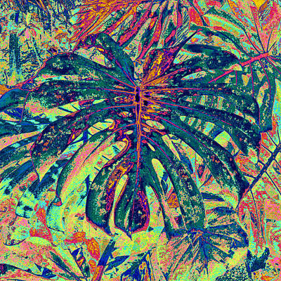 Poster featuring the digital art Monstera Leaf Patterns - Square by Kerri Ligatich