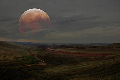 Montana Landscape On Blood Moon Poster