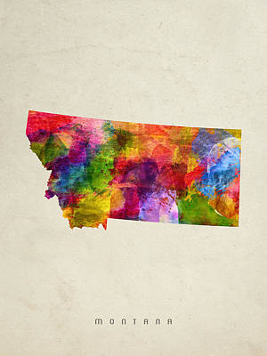 Montana State Map 02 Poster by Aged Pixel