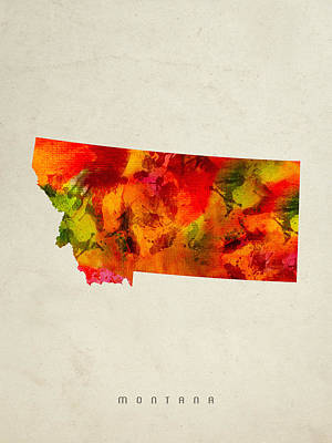 Montana State Map 04 Poster by Aged Pixel