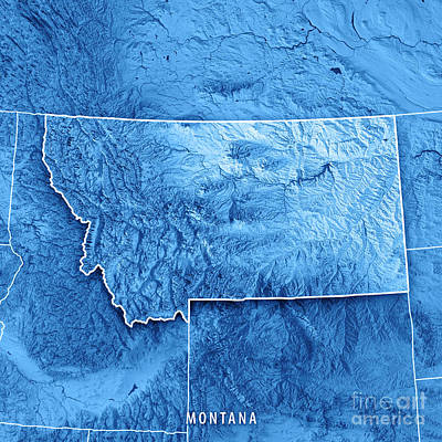 Montana State Usa 3d Render Topographic Map Blue Border Poster