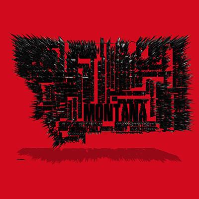Montana Typographic Map 4d Poster
