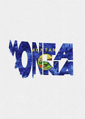 Montana Typographic Map Flag Poster