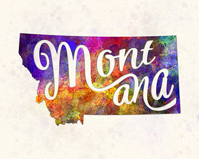 Montana Us State In Watercolor Text Cut Out Poster