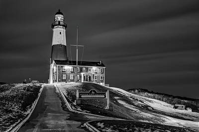 Poster featuring the photograph Montauk Point Lighthouse Bw by Susan Candelario