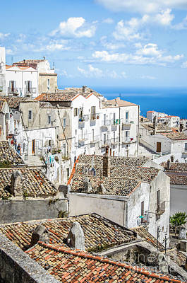 Monte Sant Angelo - White Houses Roofs Gargano Canvas  Apulia Prints Poster