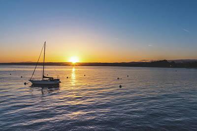 Monterey Bay Sailboat At Sunrise Poster