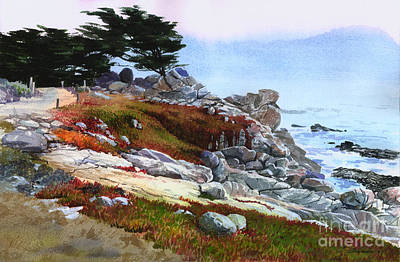 Poster featuring the painting Monterey Coast by Sergey Zhiboedov