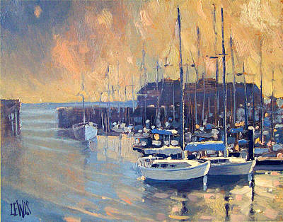 Monterey Marina In Early Morning Poster by Robert Lewis