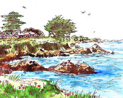 Poster featuring the painting Monterey Shore by Irina Sztukowski