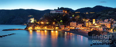 Poster featuring the photograph Monterosso Al Mare At Twilight by Brian Jannsen