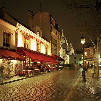 Montmartre District With Sacre-coeur At Night Poster