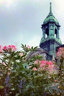 Montreal Bldg Among Flowers Poster by Deborah  Crew-Johnson