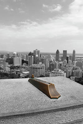 Montreal Cityscape Bw With Color Poster