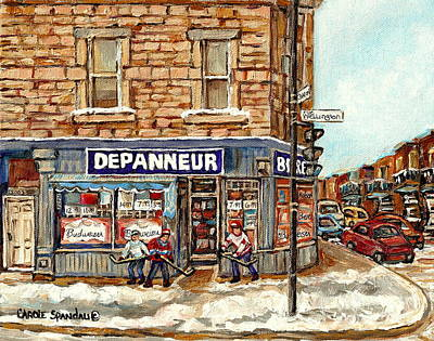 Montreal Corner Depanneur With Hockey Art Verdun Winter City Scene Canadian Painting Carole Spandau  Poster by Carole Spandau