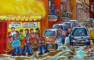 Montreal Hockey Scene Near Monsieur Hot Dog Vintage Restaurant Canadian Art Carole Spandau           Poster