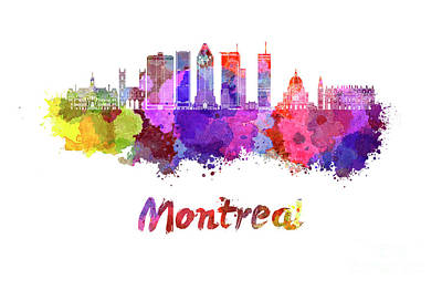 Montreal Skyline In Watercolor Splatters Poster by Pablo Romero