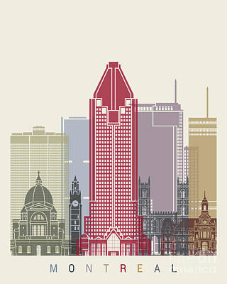 Montreal Skyline Poster Poster by Pablo Romero