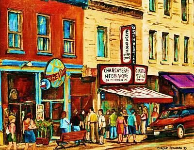 Montreal Streetscene Artist Carole Spandau Paints Schwartzs Main Street Hustle Bustle Poster by Carole Spandau