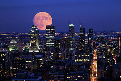 Poster featuring the photograph Montreal Supermoon by Mircea Costina Photography