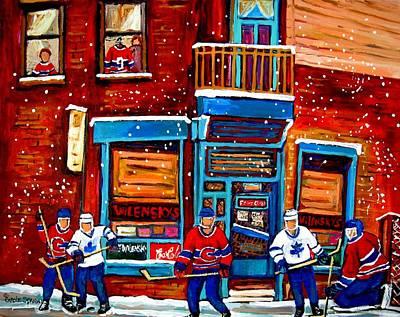 Montreal Wilensky Deli By Carole Spandau Montreal Streetscene And Hockey Artist Poster