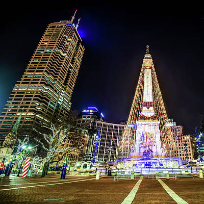 Monument Circle At Christmas - Color Poster by Gregory Ballos