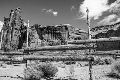 Fence In Monument Valley - Bw Poster